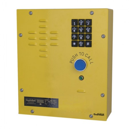 Emergency Wall Mount IP Telephone w/ Single Push to Call Button, 12 Digit Metal Keypad, & Auxilliary