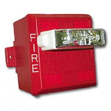 Red Wall‑mount Weatherproof Multitone Strobe Fire Lettering 24VDC, 75CD | MTWP-2475W-FR