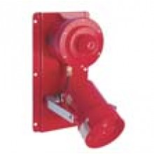 MEDC Combination Horn Speaker, Red Strobe, Red Lens, 110 VAC